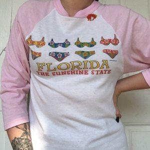 VINTAGE / Florida Pink Baseball Sleeve Tee